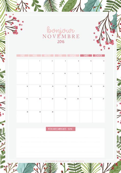 Calendrier De Novembre Calendrier De Novembre 2016 224 Imprimer Plume Picoti