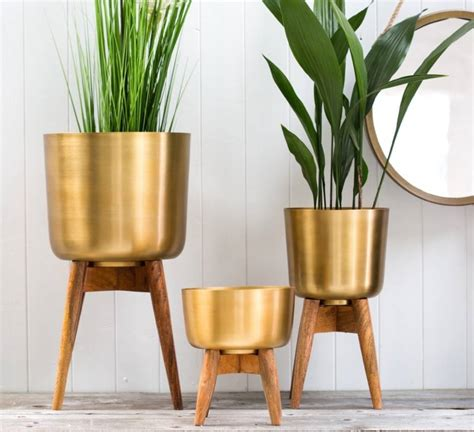 Design For Small Bathroom by Brass Plant Pot On A Wooden Stand By The Forest Amp Co