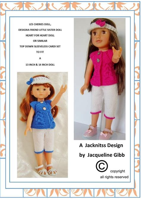 Set Cardi Rkibbon lc04 top cardi set for 13 and 14inch dolls knitting