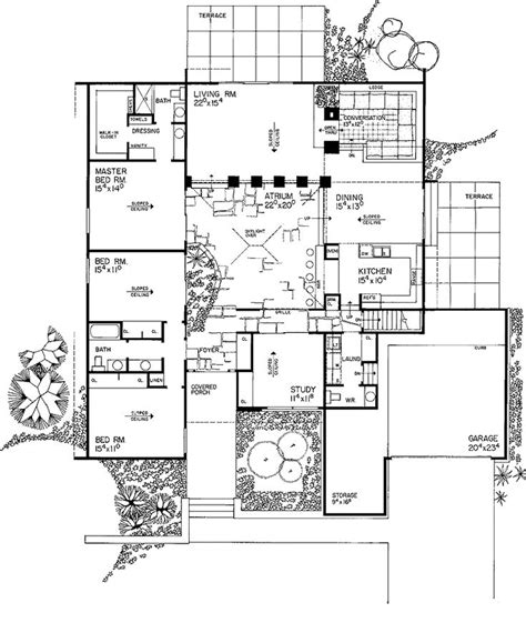 Central Courtyard House Plans by 3 Bed 2 5 Bath Contemporary Around A Central Courtyard
