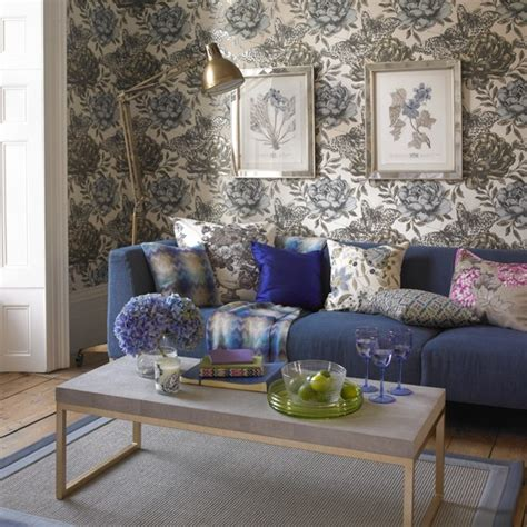 blue painterly floral living room living room decorating ideas housetohome co uk