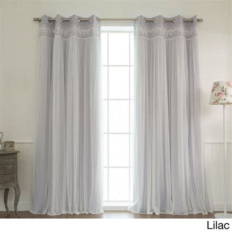 aurora curtains aurora home lace overlay blackout grommet top curtain