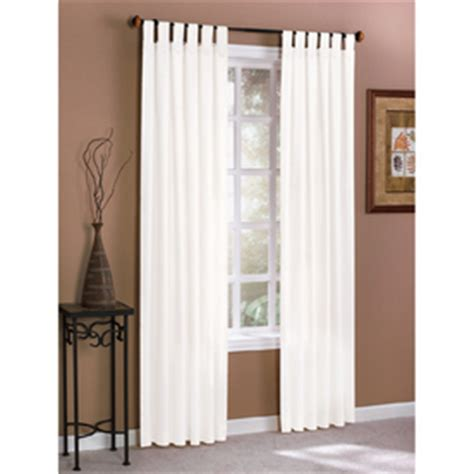 white tab curtains shop style selections twill solid 84 in l solid white tab