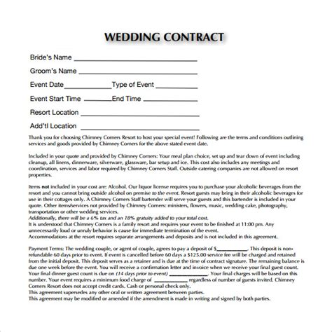 wedding planning contract templates professional business profile