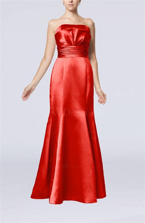 Simple Evening Dress Mt 160 simple strapless satin floor length pleated evening dresses uwdress