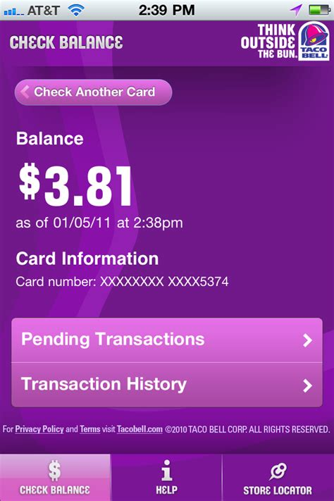Taco Bell Balance Gift Card - taco bell gift card number gift ftempo