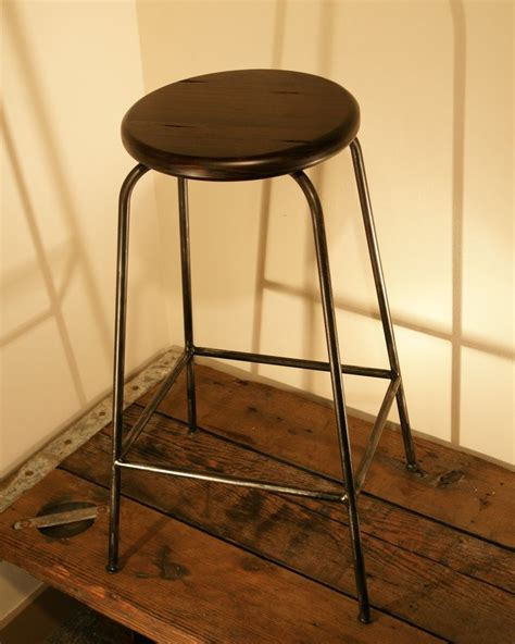 handmade iron bar stools handmade iron bar stool with reclaimed look wooden seat by