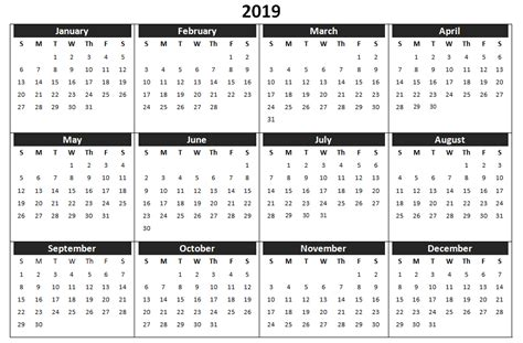 2019 Yearly Calendar Template Word