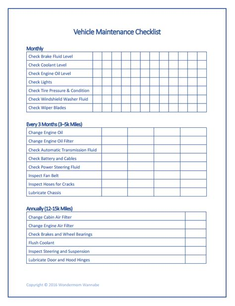 vehicle cleaning checklist template pin vehicle maintenance checklist on