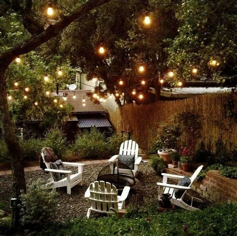 Backyard Lighting Ideas Backyard Complete With Pit Lounge Chairs And Edison Lights Dreamy Outdoor