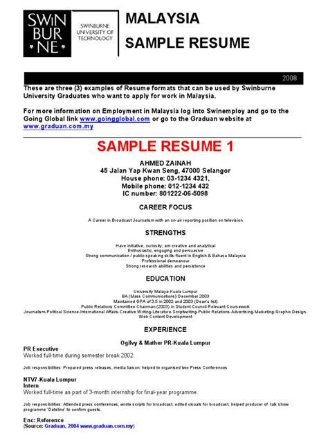 Resume Template Malaysia Sle Of Resumes Malaysia