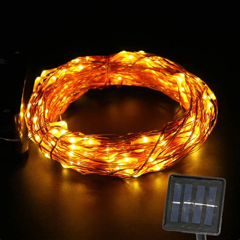 solar powered copper wire string light 15m outdoor