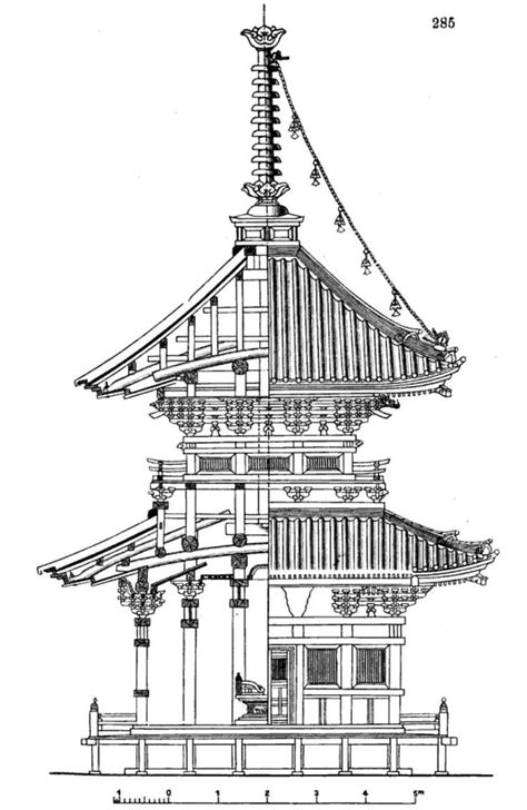 archimaps:Elevation and section of a Japanese pagoda