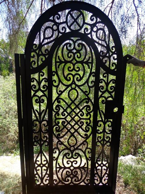 metal gate pedestrian walk thru iron steel garden