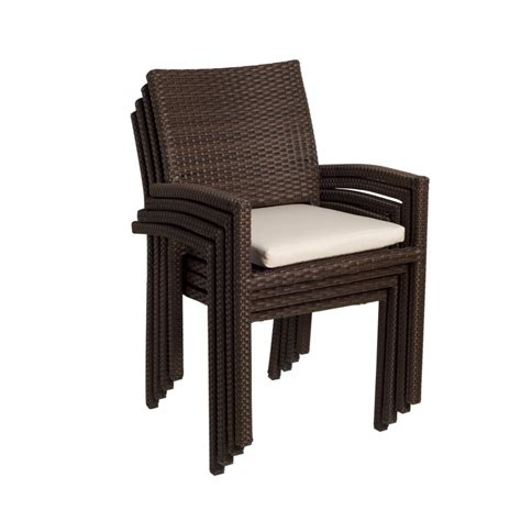Wicker Outdoor Dining Chairs Shop International Home Atlantic 4 Count Brown Wicker Stackable Patio Dining Chairs At Lowes