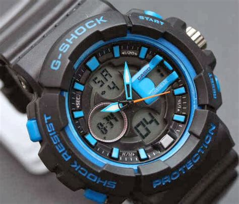 G Shock Dual Time D 3821 Hitam List Orange jual jam tangan g shock warna hitam list biru satria jam tangan