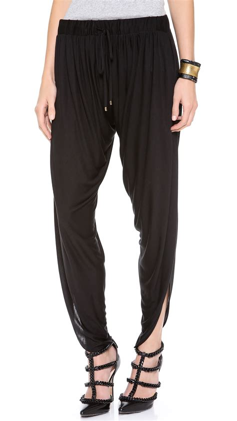 draped harem pants haute hippie draped jersey harem pants in black lyst