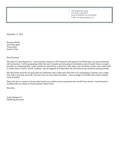 Inquiry Letter For House Real Estate Inquiry Letter S World