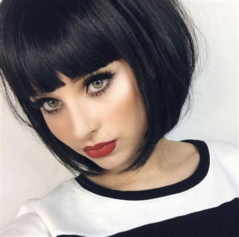 k mitchell short hairstyles with a soft bang 25 best short bobs with bangs ideas on pinterest short
