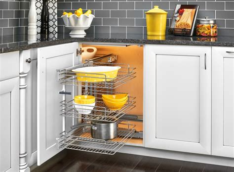Blind Kitchen Cabinet Organizer Rev A Shelf Basket Organizer Maximizes Blind Corner Cabinet Space Getdatgadget