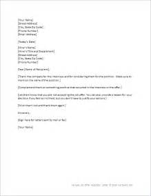 letter of offer template offer rejection letter template for word