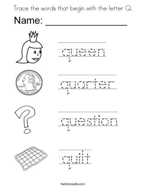 5 Letter Words With Q trace the words that begin with the letter q coloring page