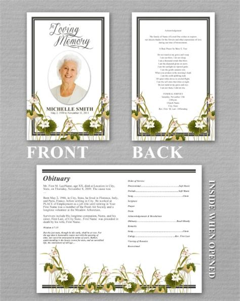 funeral bulletin template free funeral program template