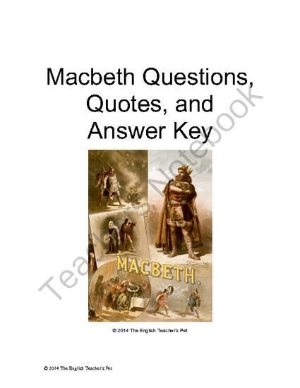 macbeth themes and quotes from the scottish play macbeth act questions quotes and answer key from the
