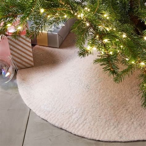felt metallic thread tree skirt blush west elm