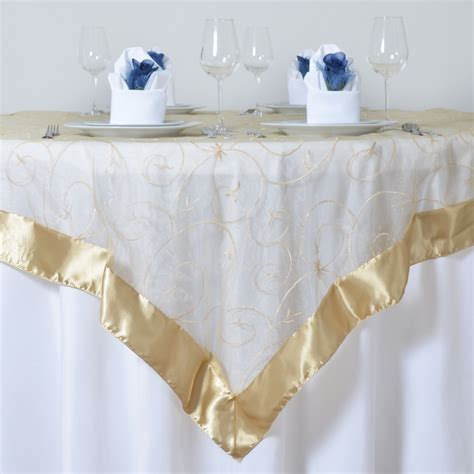 36 x wholesale lot embroidered organza 60x60 quot square table
