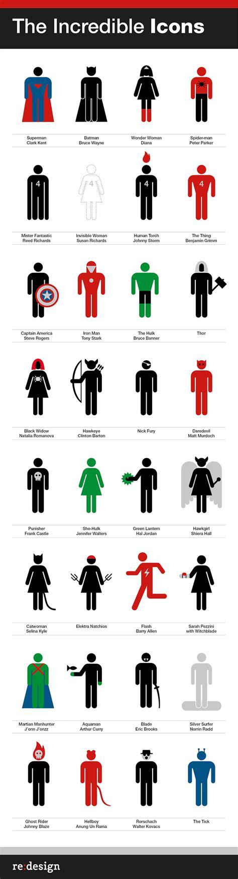 re layout re design superheroes supervillains icons