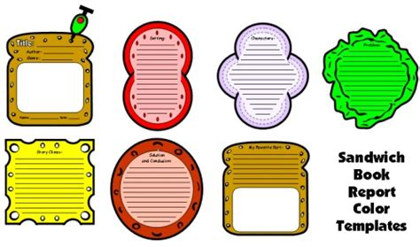 Story Sandwich Book Report by Paragraph Lunch Colouring Pages
