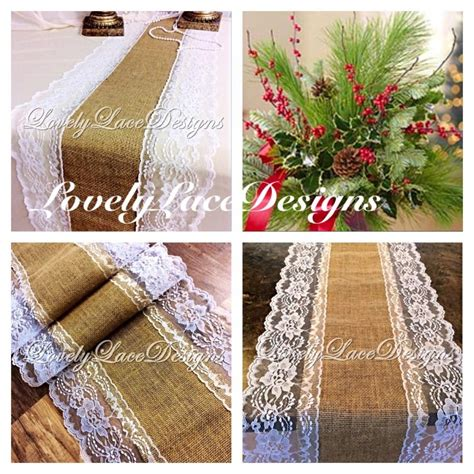 christmas decor burlap lace table runner white lace 4ft