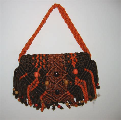 Macrame Shopping Bag - boho hippie macrame bag handbag purse 1970 s unique