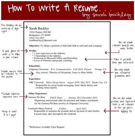 how to write a resume pin by buckley on pace ideas