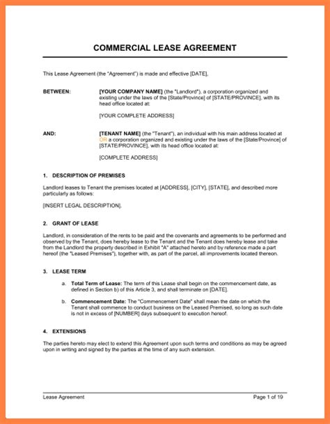 commercial building lease template 6 commercial building lease agreement template purchase