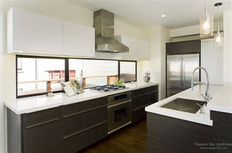 kitchen cabinets with windows behind