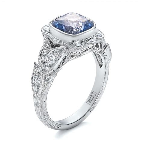 custom light blue sapphire and engagement ring 102135