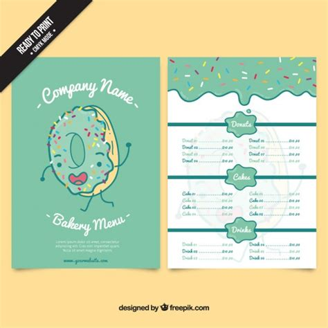 free bakery menu template donut bakery menu template vector free