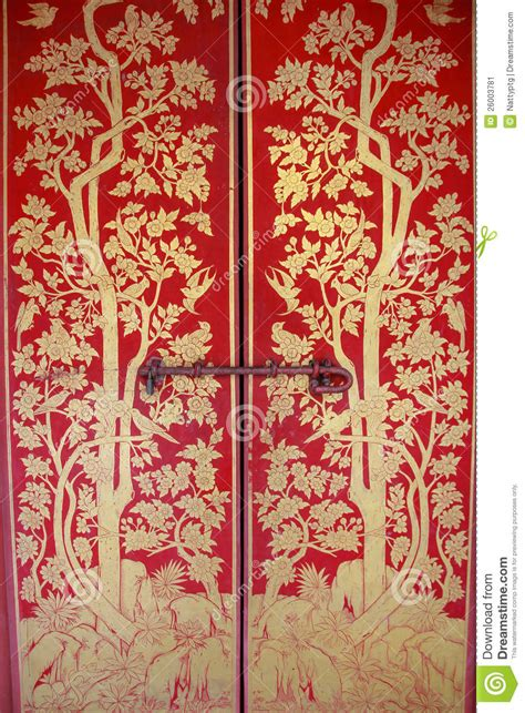 red door  gold painting stock image image
