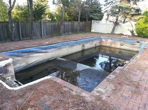 diy inground concrete pool diy ig rehab cement walls vinyl liner pool filled
