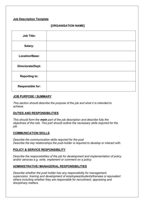 position description templates 49 free description templates exles free