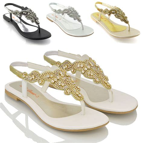 dressy sandals new womens flat diamante toe post sparkly dressy