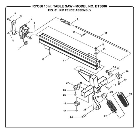 ryobi table saw parts ryobi bt3000 10 quot table saw parts and accessories partswarehouse