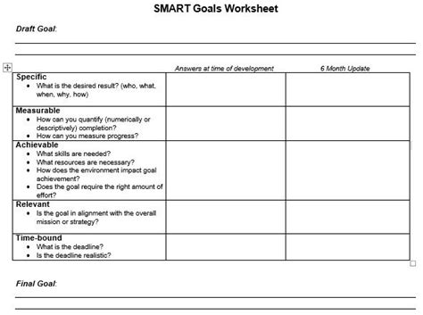 download smart goals worksheet templates excel pdf autos