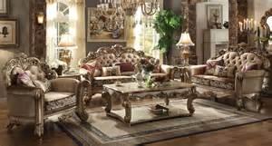 gold living room furniture vendome living room set gold patina bone fabric acme