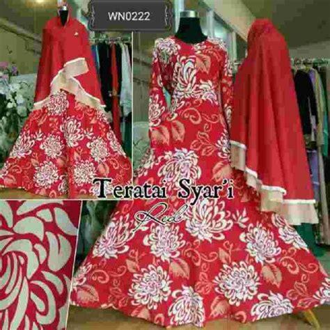 Gamis Busui Merah Maxy Maxi Muslim Kerudung Jilbab Set baju gamis katun motif teratai a169 busana muslim