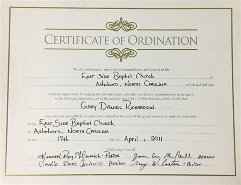 ordination certificate templates baptist minister ordination certificate pictures to pin on