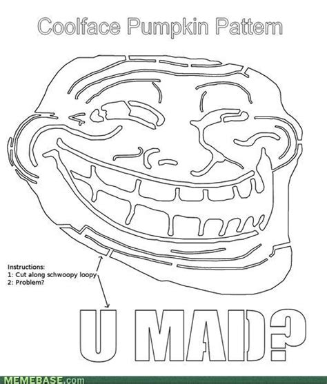 Meme Pumpkin Stencil - image 187371 trollface coolface problem know