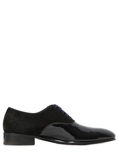 blue suede oxford shoes max verre suede patent leather oxford shoes in blue for